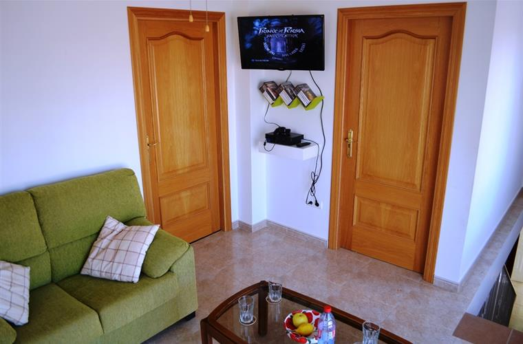Play-station and TV-corner upstairs. Large game and DVD collection
