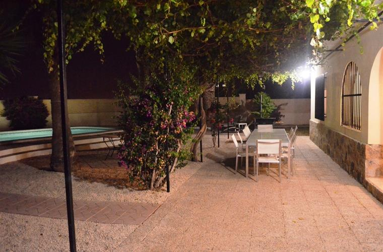 The swimming pool and the outdoor terraces have lighting.