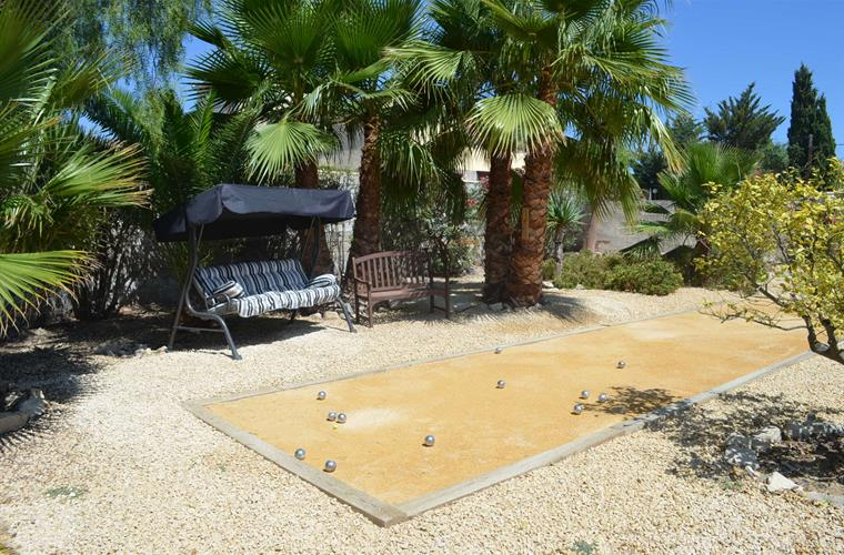 Petanque area in the tropical garden