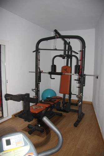 Gym with fitball and a muscle work out equipment