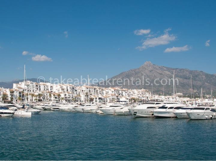 Puerto Banus harbour is 10-15 min walk away