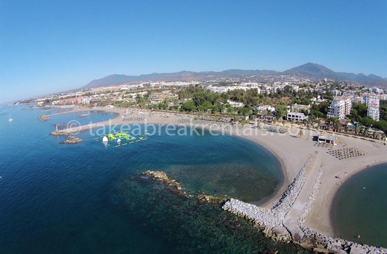 Ariel view of Puerto Banus child friendly beaches
