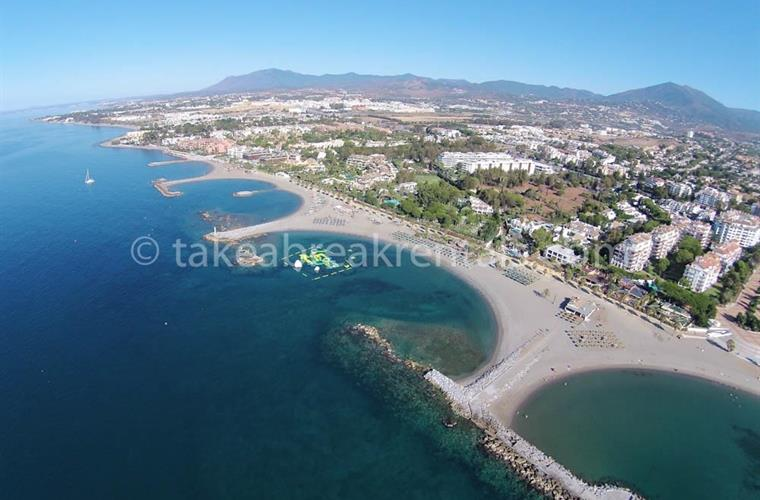 Ariel view Puerto Banus coastline Spain