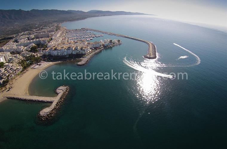 Ariel view Puerto Banus beach & harbour