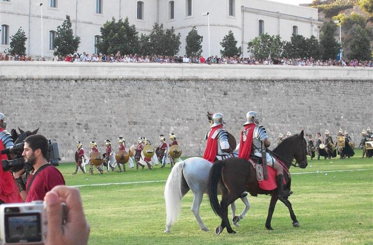 Roman horsemen in annual local fiesta