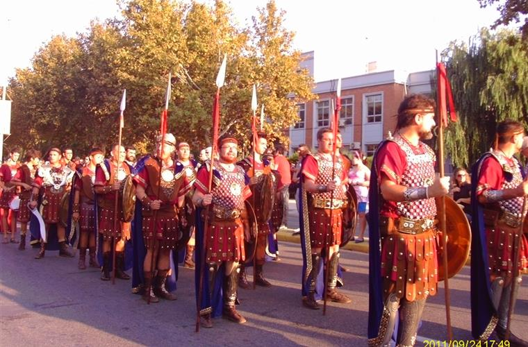 Roman infantry in local annual fiesta