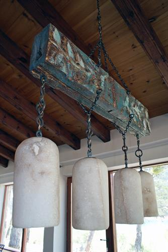 Antique lights in dining area