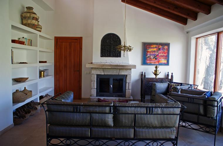 Large living area with fireplace and panorama windows