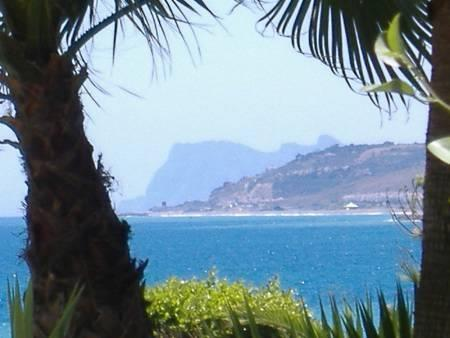 View of Rock of Gibraltar from the Pool and Gardens on a clear day