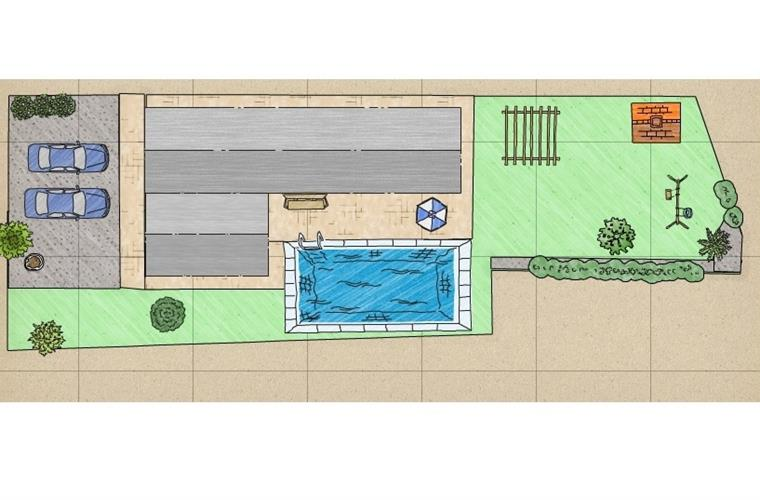 Architect plan of garden layout after new pool construction