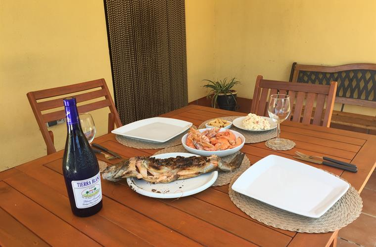 Lunch al fresco (grill fish and Tiger prawns in the BBQ)