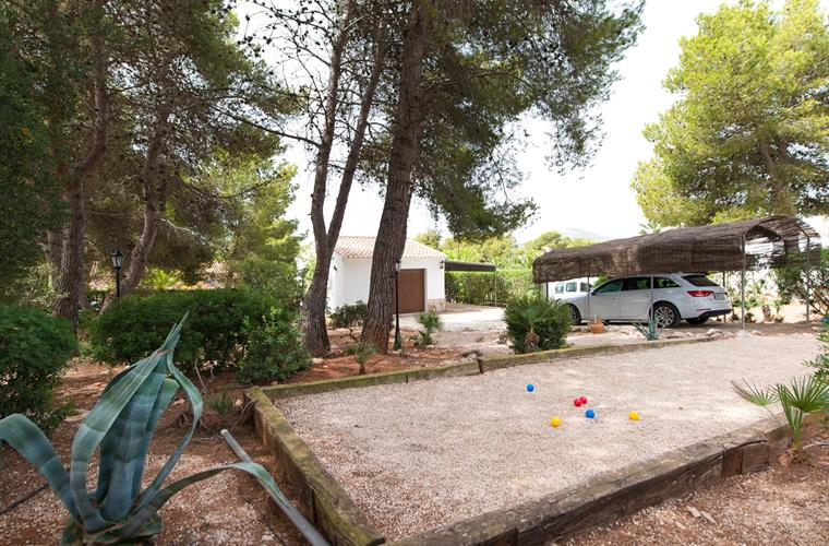 Jeu de Boules pitch in the garden and shaded car parks