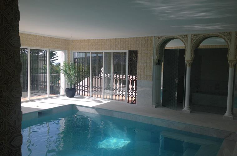 The hamam and the indoor pool.
