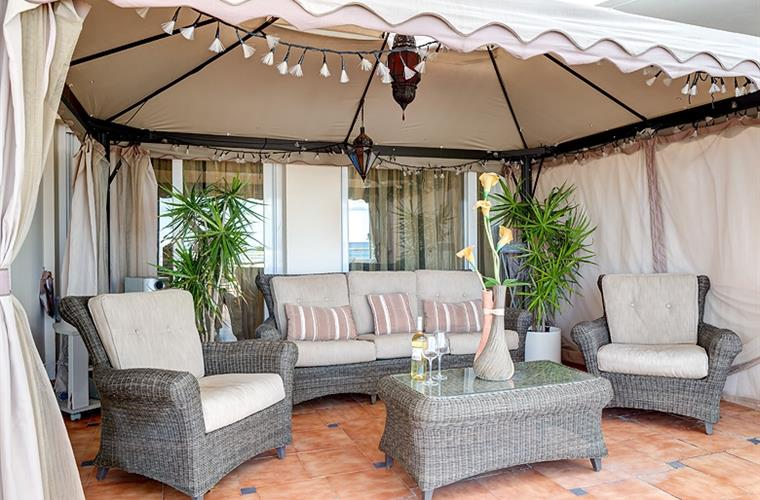 Large 120sqFt Gazebo Sea views special lights & Terrace Furniture.