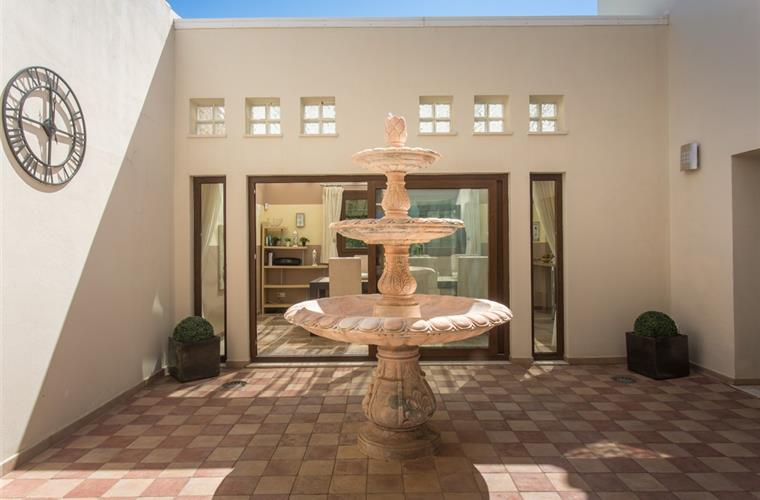 Interior feature patio with fountain