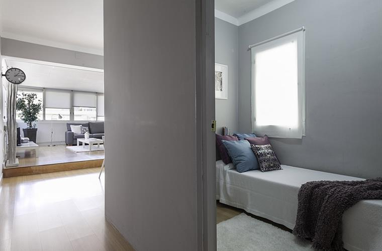 The single bedroom comes with a large window.