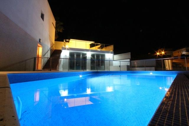 pool and terraces by night