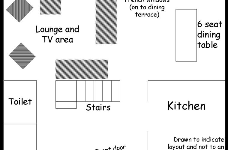 A sketch of the layout downstairs