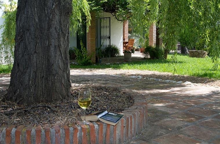 Enjoy a glass of Rioja in the shaded reading area