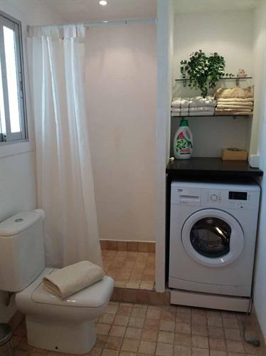 The bathroom on the 1st floor with shower and washing machine.