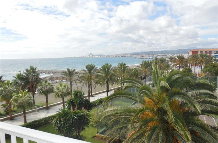 View from balcony; promenade - Torre del Mar across the sea
