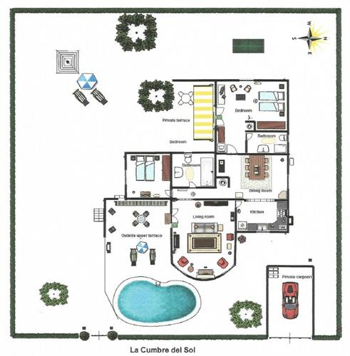 Floorplan of your holiday villa with privat pool