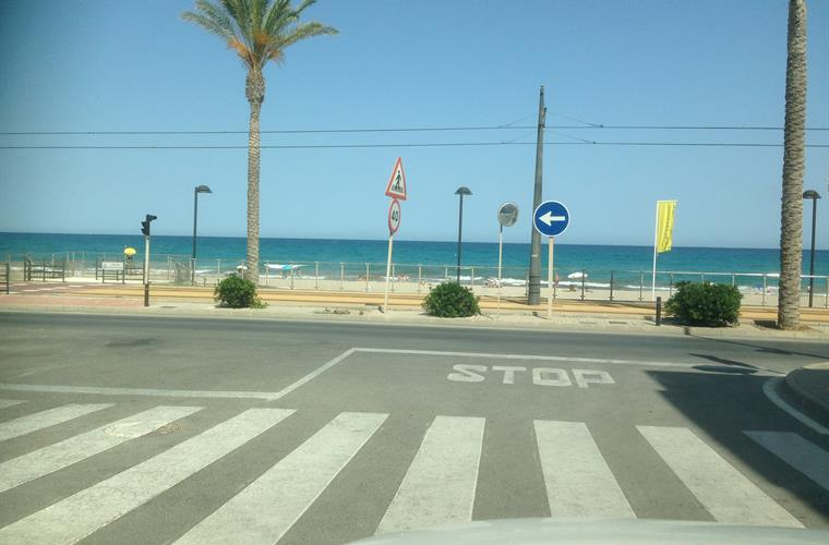 Access to beach and tramline