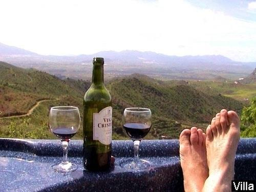 Put your feet up and relax in the hot tub!