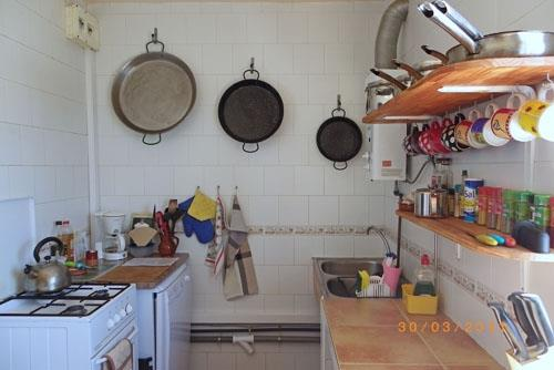 and the other end of the kitchen