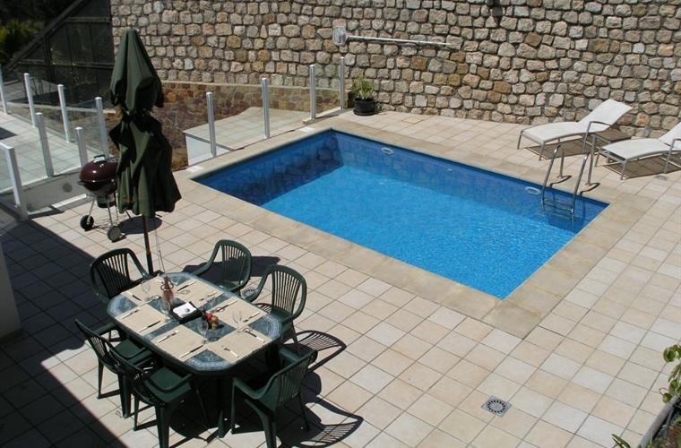 A birds eye view of the private pool