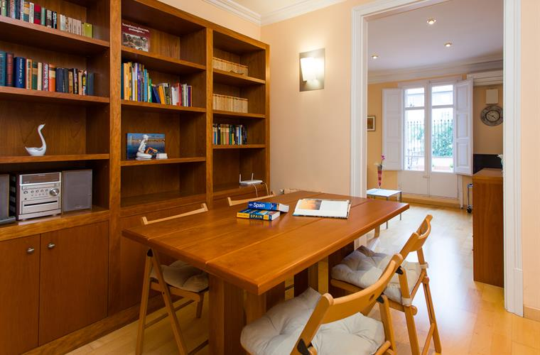 Dining area with library, movies and music collection