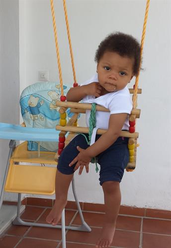 Toddler´s swing, sand pit and high chair