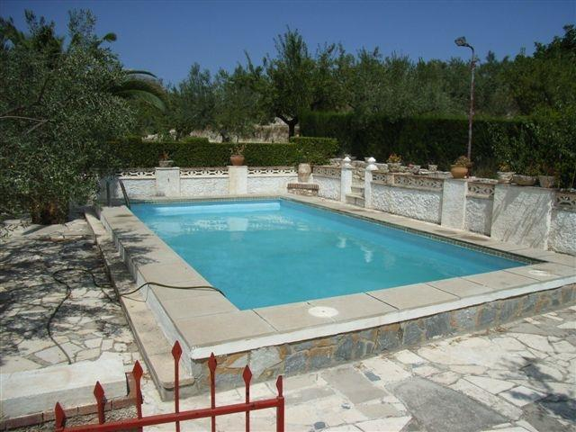 private pool at the side of the villa