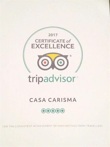 Trip Advisor Certificate of Excellence Award 2017