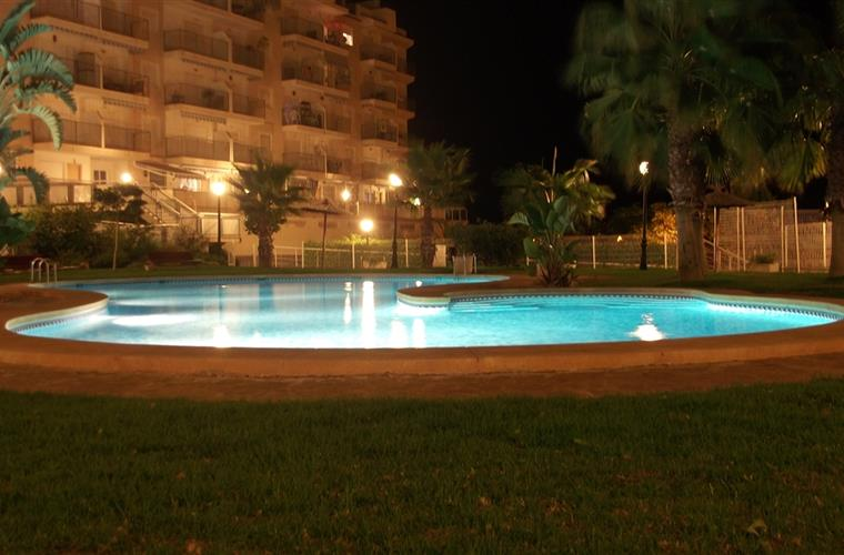 the pool at night time, swimming allowed until midnight