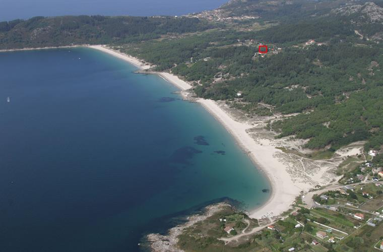 Aerial view of the beaches and the house