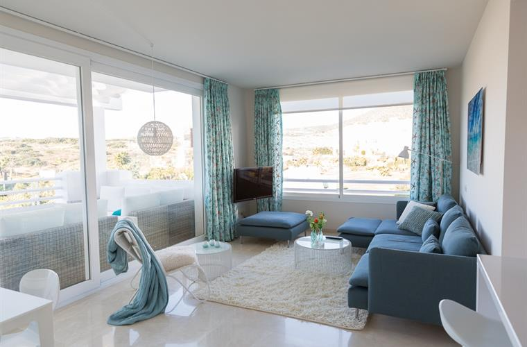 The bright living room, beautiful decorated with a fantastic view