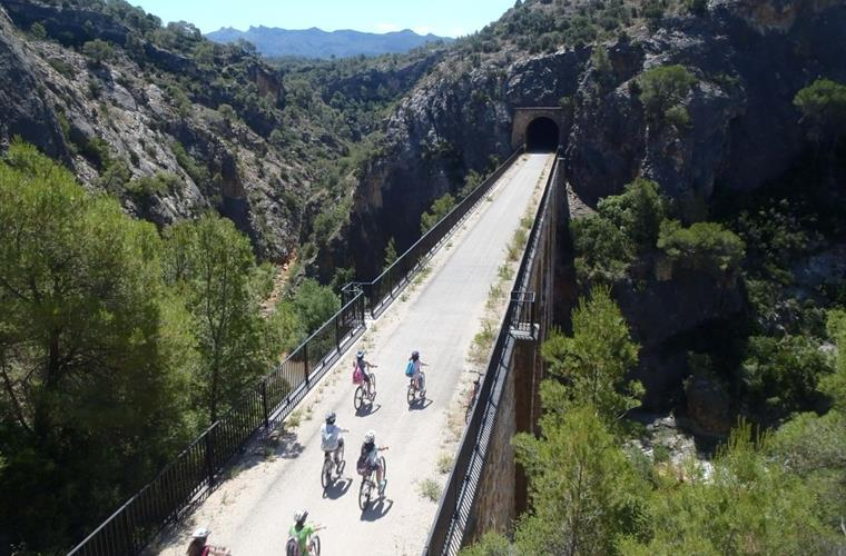 Cycling on the Via Verde - one of the many activities we arrange