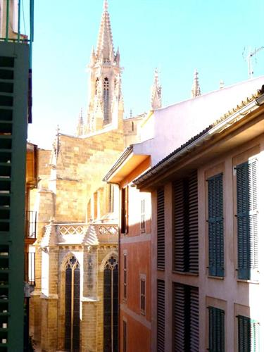 View of historic architecture from apartment Juliet balcony