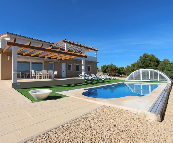 The villa and swimming pool area