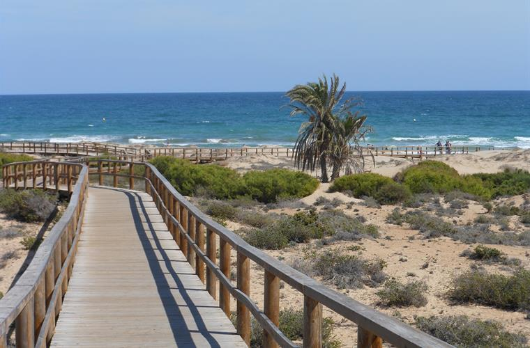 Wooden walkway access to the Carabassi beach