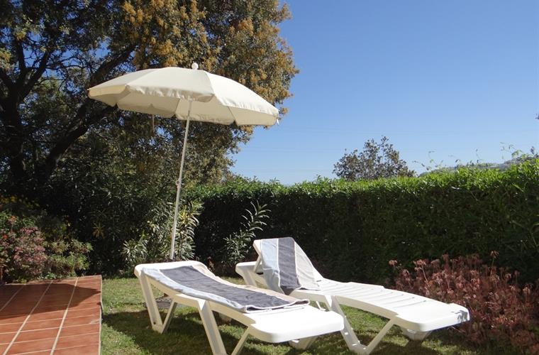 Sunlounges in the private garden