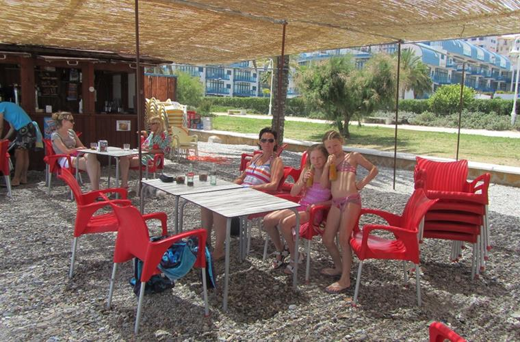 Summer 2013 - beach bar in front of building.  Tapas, food, drinks