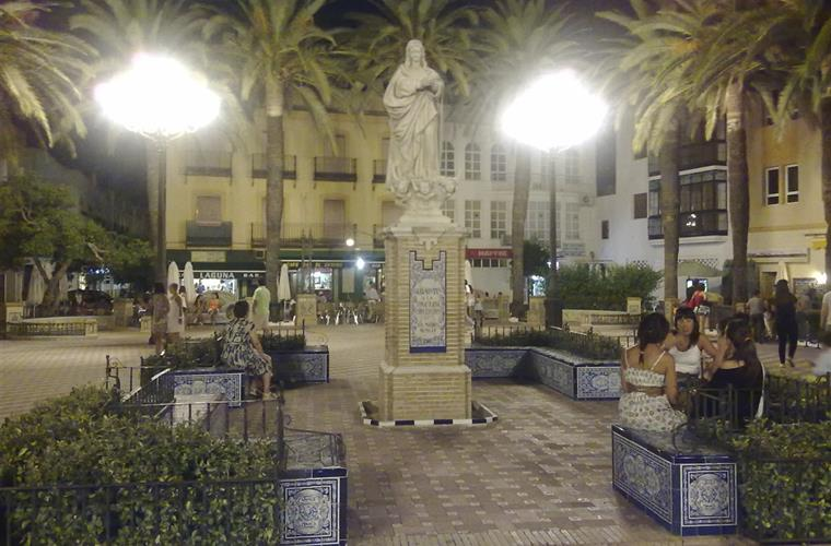 Laguna square Ayamonte by night.
