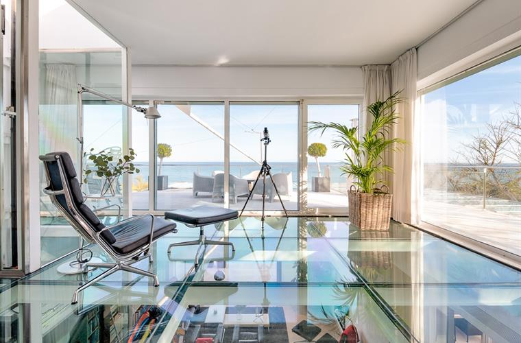 Upstairs Glass floor sea views