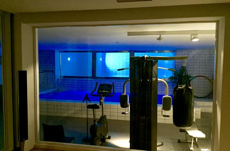 The gym and indoor and outdoor pool seen from the home cinema room