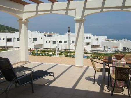 Large furnished terrace with sea+pool views