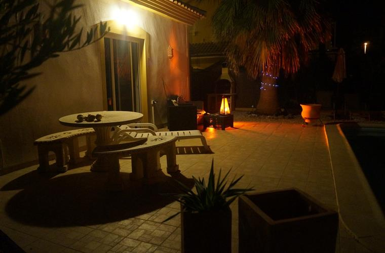 Patio area at night