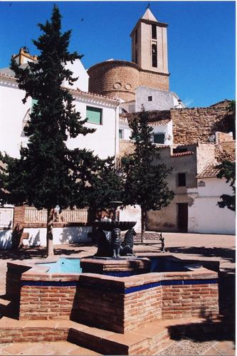 Iznajar church from Lion Square