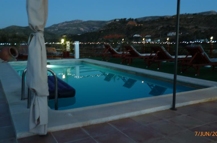 Pool area at dusk